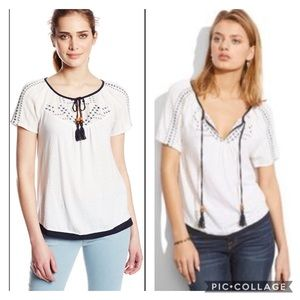 NEW Lucky Brand White BOHO Ruthie Embroidered Top